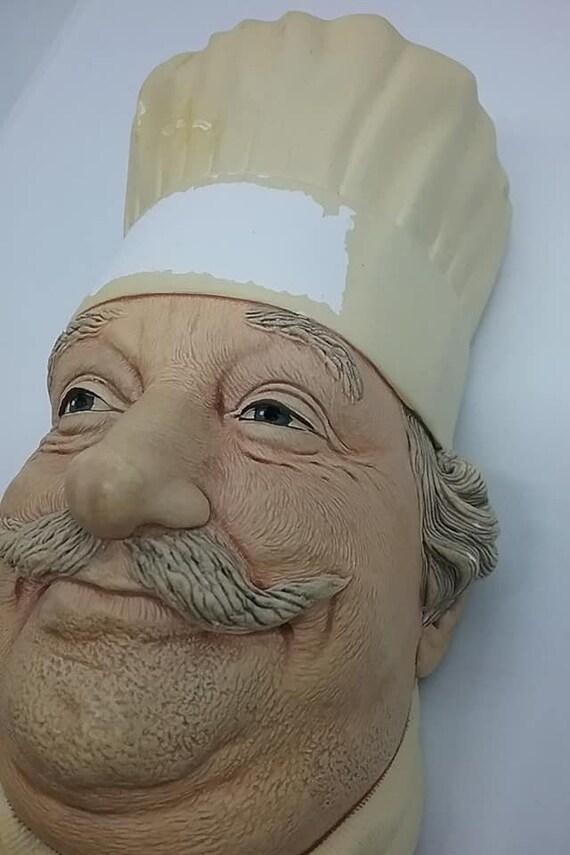 Bosson Head, Chef, Chalkware Bosson Wall Decor