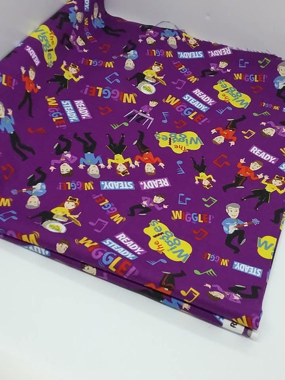 Cotton Novelty Material, The Wiggles Fabric, Purple Children's Cotton, 1 Yard. Ready Steady Wiggles Fabric