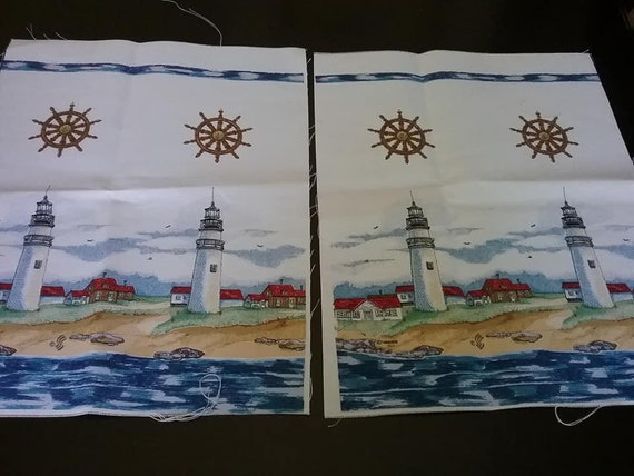 2 Panels Nautical Lighthouse Fabric, 100% Cotton Canvas,
