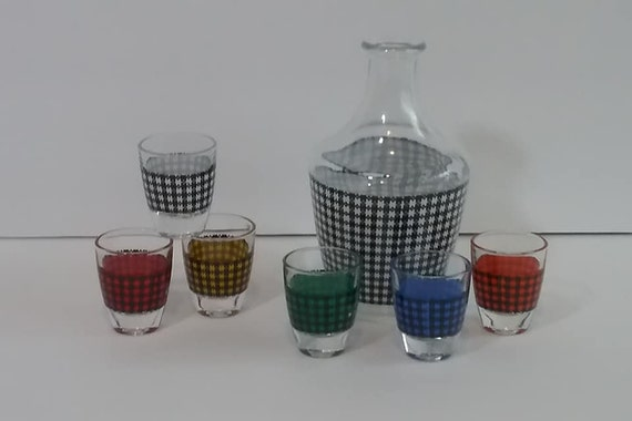 1960's Decanter and Glasses, Barware