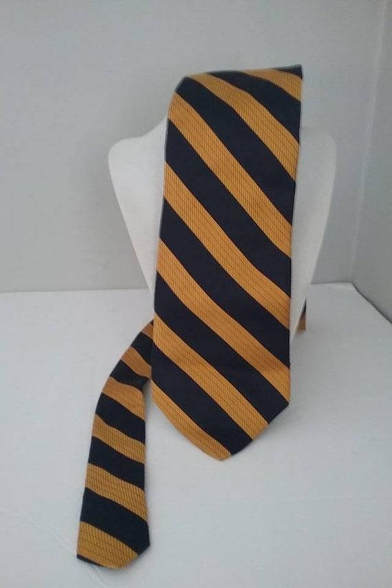 Men's Vintage Silk Tie, Navy and Gold Diagonal Stripes