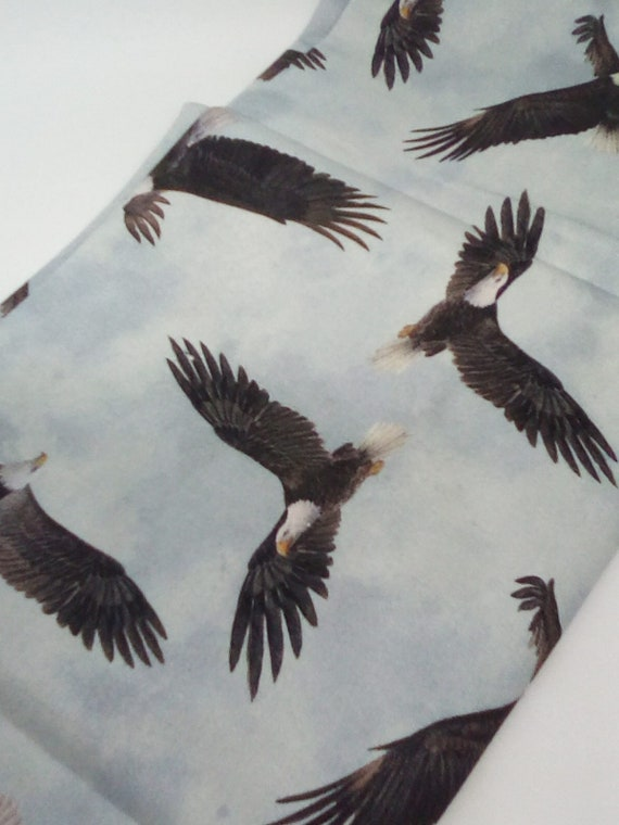 1 Meter Eagle Print Fabric, Soaring Eagles Cotton Material, Bird Print Fabric
