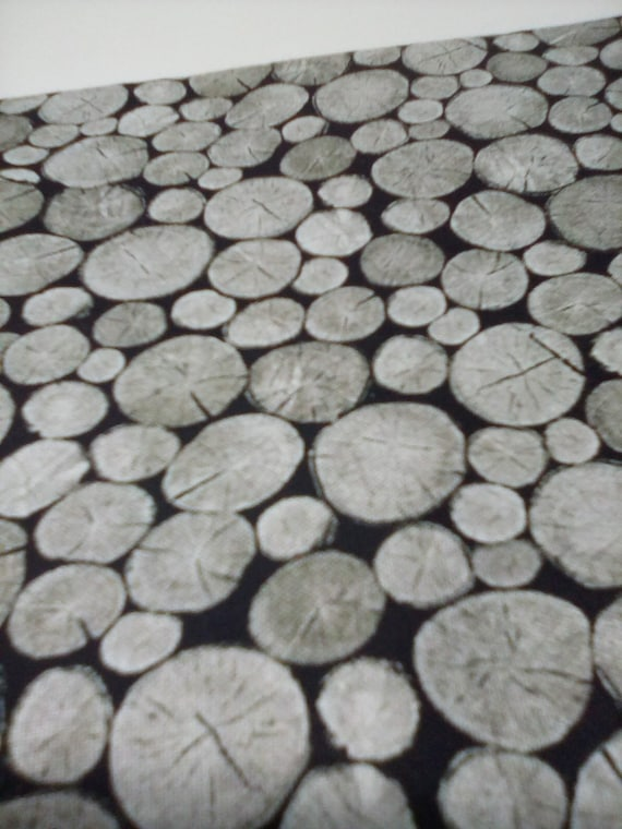 1 Meter Novelty Cotton Fabric, Nature Lovers, Tree Theme Material, Black and Grey Tree Trunks from Naturescapes