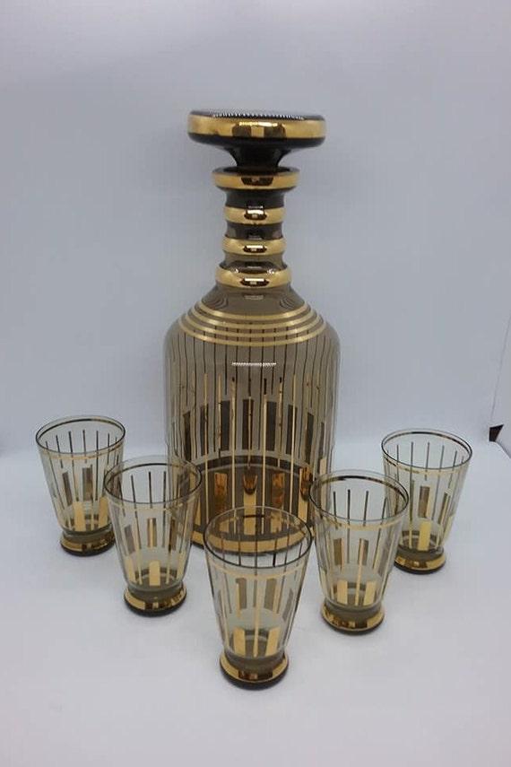 Liquor Decanter and Shot Glasses, Mid-century Modern Barware