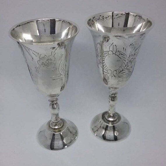 Vintage Silver Plated, Set of 6, Cocktail Sippers, Goblets