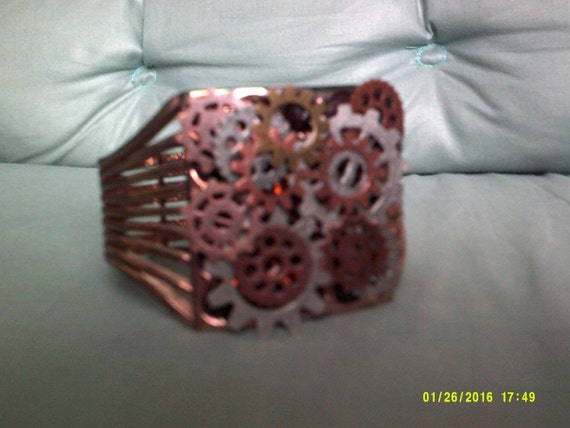 Steampunk Women's Cuff, With Gears, Industrial Style Jewelry