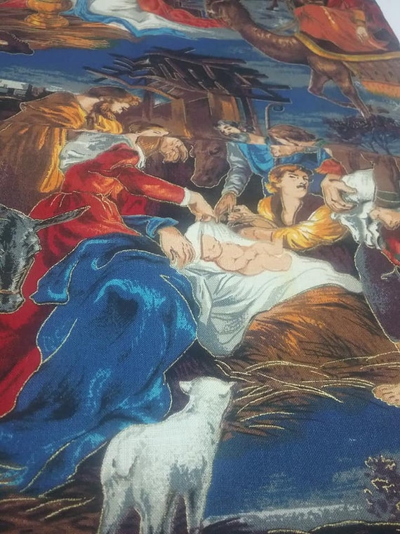 Cotton Christmas Material, Jesus is Born, Nativity Scene Print, Remnant 1/2 Yard Fabric
