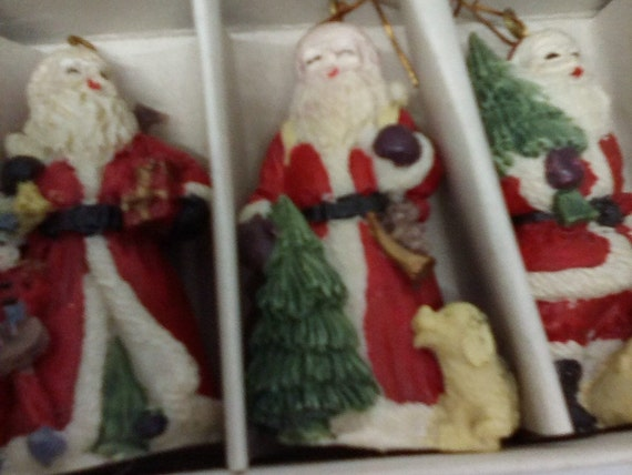 Santa Claus Ornaments, Set of Six Santa Christmas Tree Ornaments, Vintage Resin Santa Collectibles, Vintage Christmas Tree Ornaments