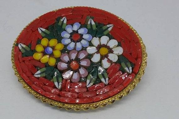 Italian Vintage Micro Mosaic Brooch