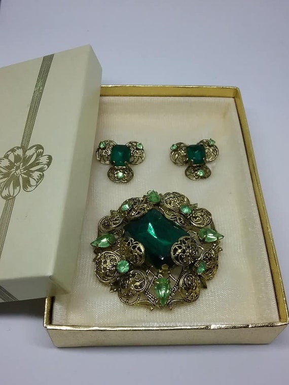 Vintage Coro Brooch and Earrings Set, Original Box, Old Hollywood Glam