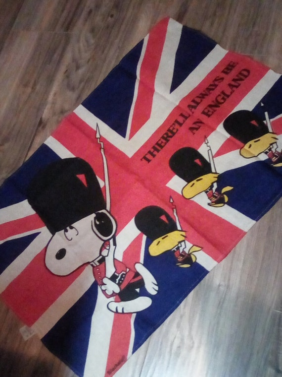 Vintage Fabric Wall Hanging, Snoopy and Woodstock on Union Jack Flag, There'll Always be an England 1965 Peanuts  British Tea Towel