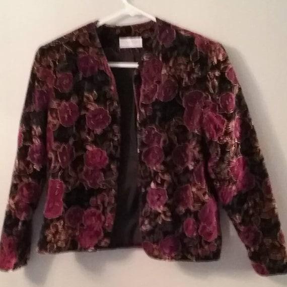 Women's 1980's Suede Blazer, Floral Box Jacket, Vintage