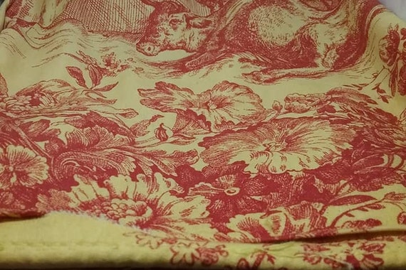 Cotton Toile Fabric, Yellow and Red French Pastoral Scenes, 2 Yards, by Waverly