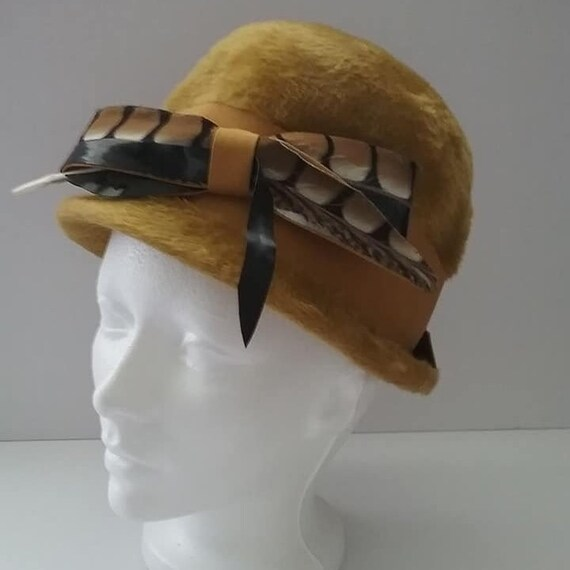 Vintage Faux Fur Bucket Hat, with Bow and Feather,