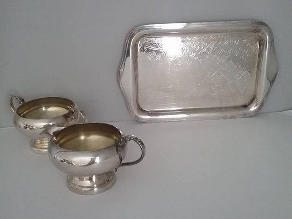 Silver Cream and Sugar with Tray, Cream and Sugar with Tray, Silver Creamer and Sugar Bowl with Tray,