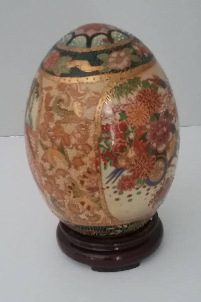 Vintage Satsuma Egg Satsuma Pottery Egg On Wooden Stand 6 Satsuma