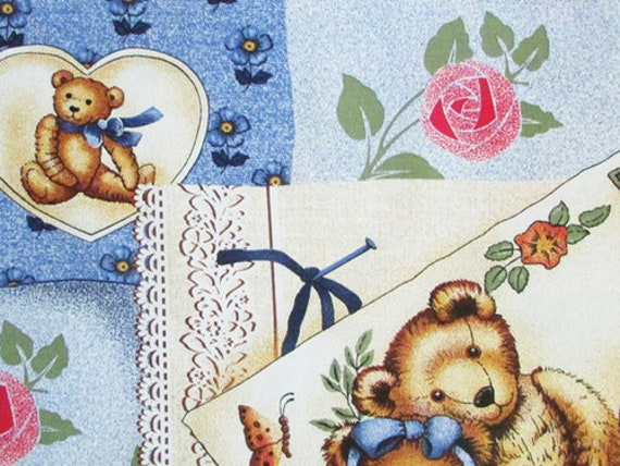 2 Yards Cotton Fabric, Teddy Bear Patchwork Fabric, Cotton Teddy Bear Material, Cotton Fabric for Children
