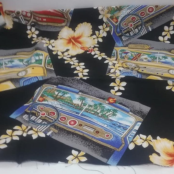 Novelty Hawaiian Fabric, Car Dashboard, Hibiscus and Tiki, Rayon Blend Fabric