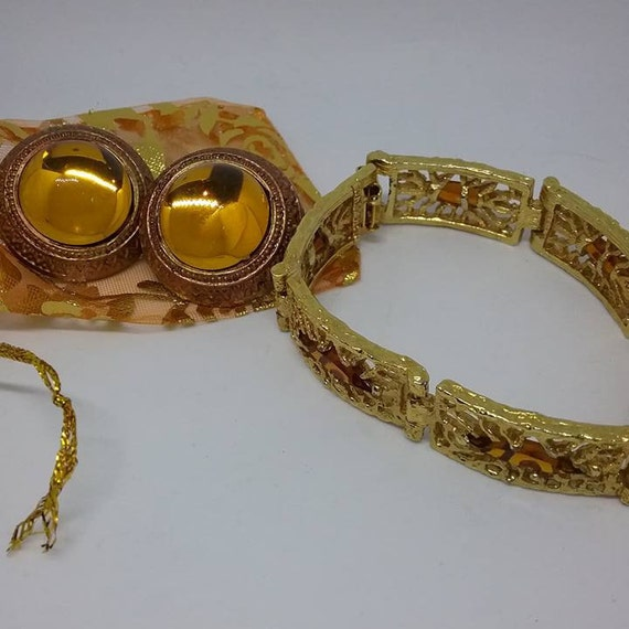 Amber Colored Bracelet and Earrings,