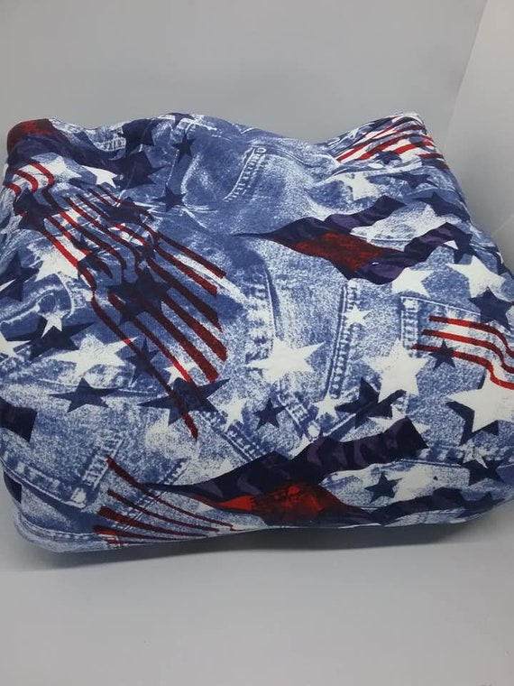 4 Yards Knit Material, Denim Look Fabric , American Flag