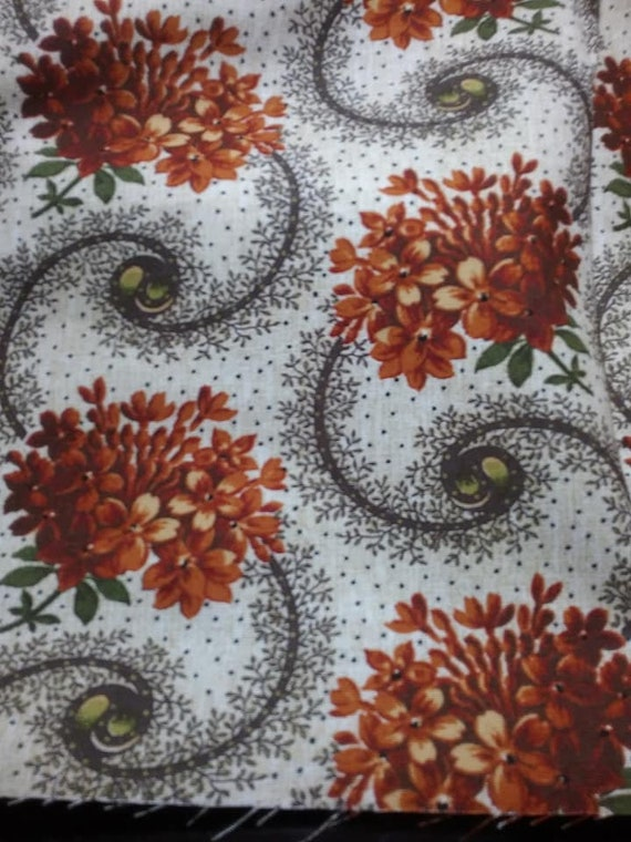 3 Yards Autumn Garden Floral Material, Cotton Fabric