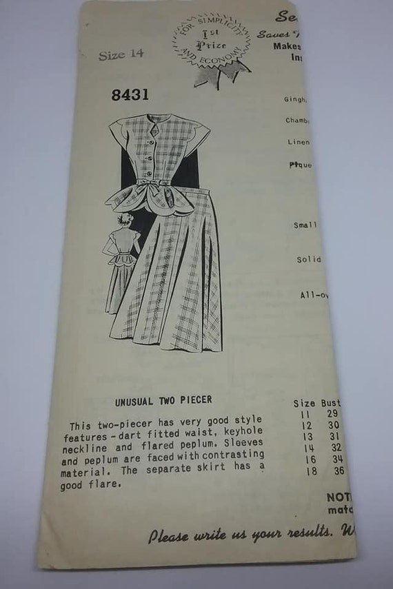 1940's Sue Burnett Pattern, #8431 WWII Era