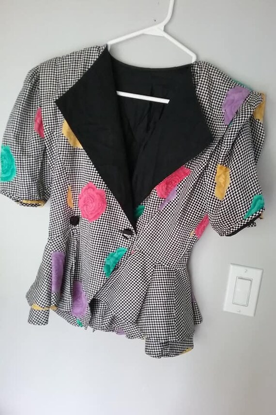 Vintage 80's Peplum Blouse, Big Shoulders