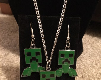 Minecraft Earrings Necklace Set Retro Gaming Silver Plated Creeper Diamond Pick