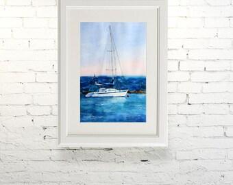 "Printable wall art  Watercolor poster "" A quiet harbor"" Home decor"