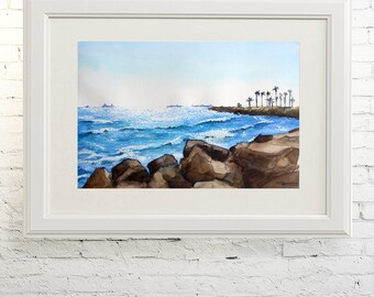 "Printable wall art  Watercolor poster "" Seagoing "" Home decor"