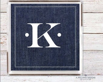 Denim Lucite Tray-Acrylic Tray/ Monogram desk organizer Tray/custom catch all Home Decor/Personalized catch all/6x6-12x12/Makes a great gift