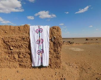 White Berber Embroidered Scarf / Throw / Curtain/ Tablecloth