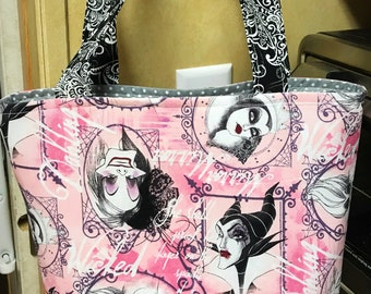 RTS Disney Inspired Villains Tote Bag Purse Cruella Deville Maleficent Ursula Evil Queen