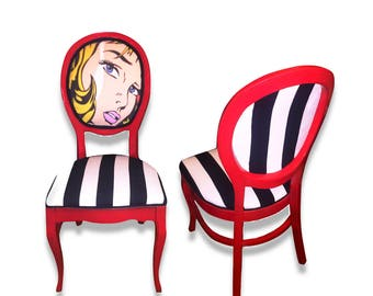 Retro Vintage Pop Art Dining/side Chair In Red With Stripe