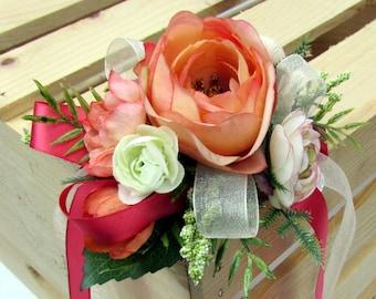 Coral wrist corsage, Peach, Blush, Rose corsage, Wedding, Prom