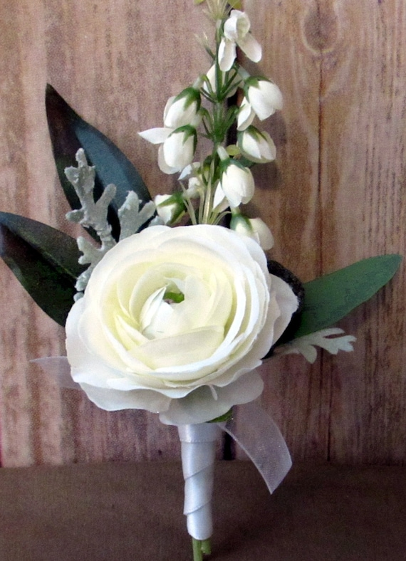 White Flower Corsage And Boutonniere Etsy