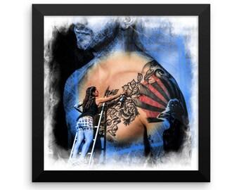 Tattoo Wall Art Framed photo paper poster | Tattoo Art | Tattoo Print | Tattoo At Work | Tattoo Wall Decor