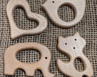 Heart or Ring Teethers conditioned with Brombie's organic beeswax/coconut oil conditioner