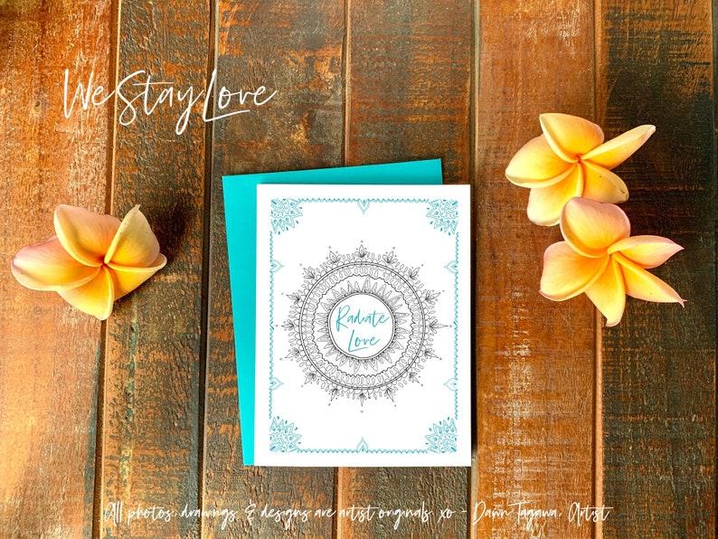 Radiate Love Mandala Greeting Card  Friendship Love Thinking image 0