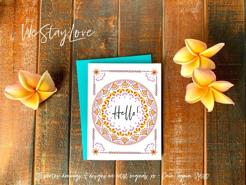 Hello Mandala Greeting Card  Bright Happy Friendship Card  image 0