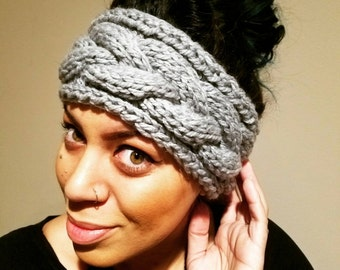 Hand Knit//Chunky//Cable Knit Earwarmer// Headband//Turban//Headwrap//Cozy//cold weather wear//vikings//lagertha