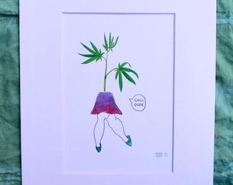 Cannabis watercolor print