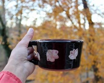Ceramic Moth Mug/ Hand painted mug