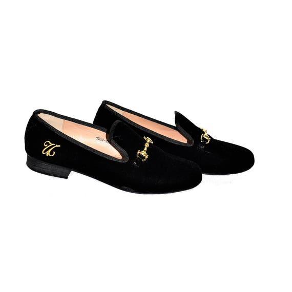 black velvet slip on shoes