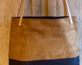 Waxed canvas and leather tote