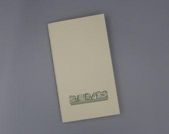 Bookshelf Vintage Design Handmade Pocket Journal / Letterpress Printed