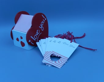Love You Gift Tag Set / Letterpress Printed / Valentine's Day