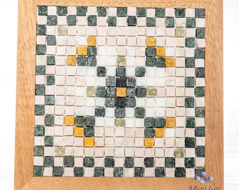 DIY mosaic kit / gift Geometric Flower (marble pre-sized tiles) Easy art / craft project for adults, teens & kids - Make your own home decor