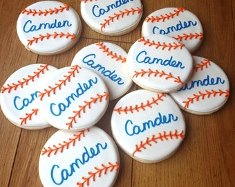 Personalized Baseball Cookies - Decorated Sugar Cookies - Baseball Birthday Party - Birthday Party favor - Baseball