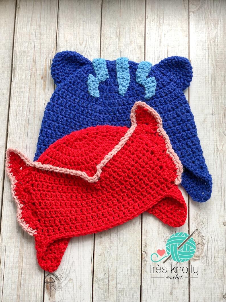 21bf147302 Catboy Owlette PJ Masks Hat Crochet Character Hat Halloween | Etsy